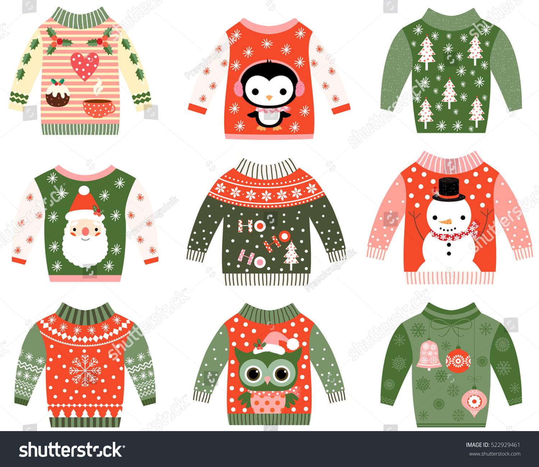 Cute Ugly Christmas Sweaters Vector Set Stockvektorgrafik 522929461