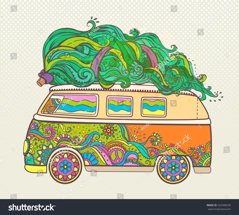 Hippie style car tree ornamental retro stock vector