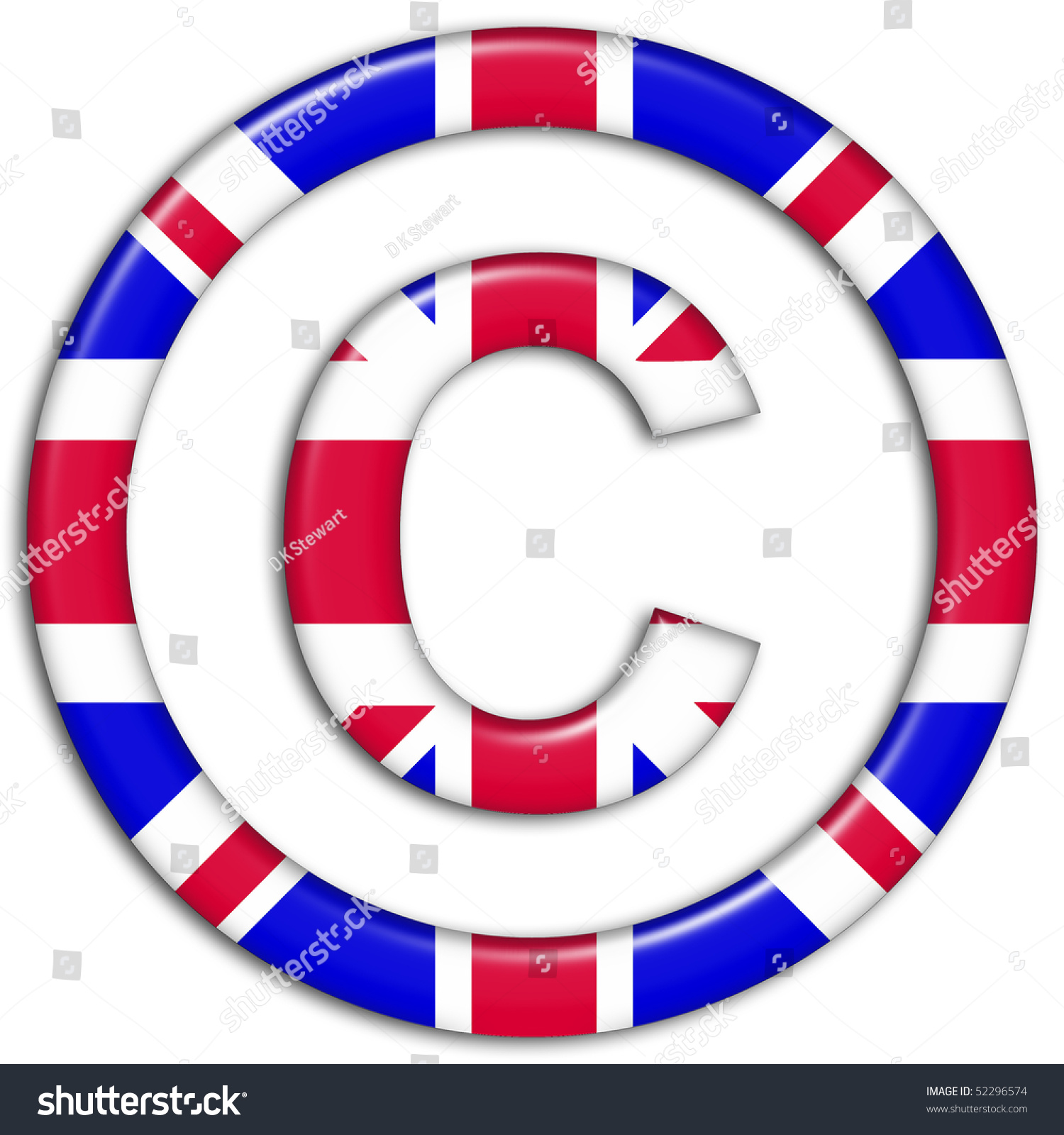 Copyright Symbol Showing Uk Flag Stock Illustration 52296574