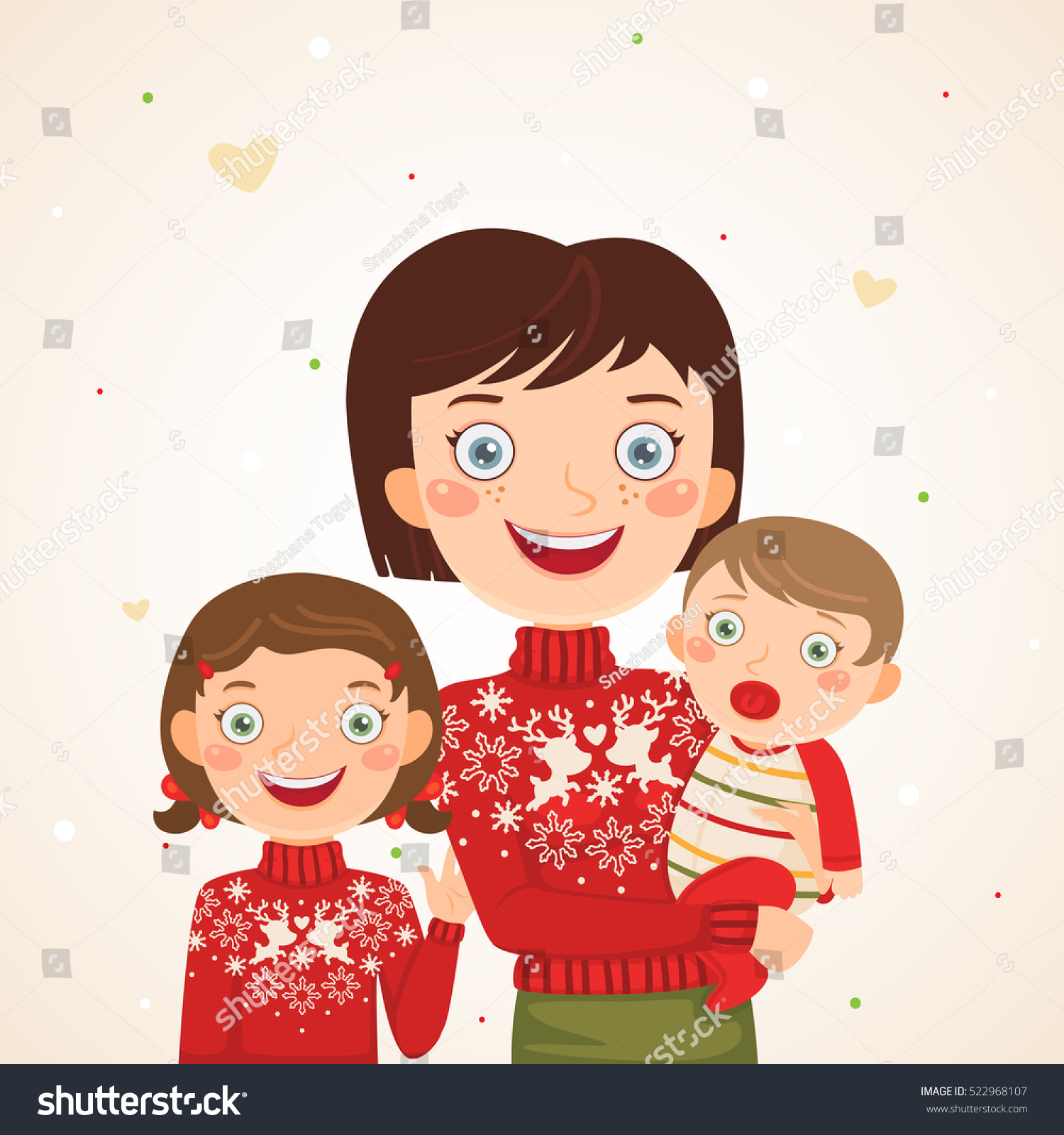 Mother Christmas Cartoon.Happy Christmas Family Look Mother Kids Stock Vector