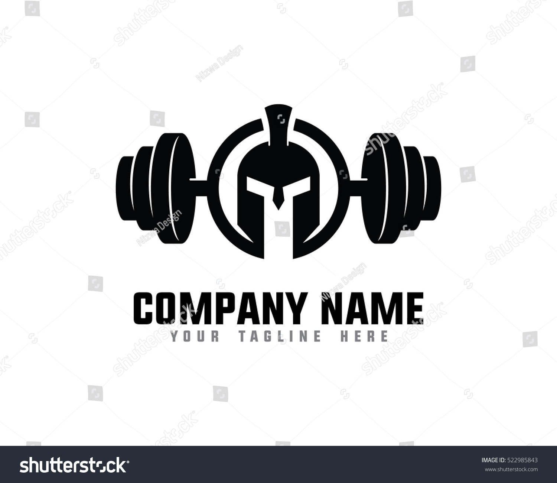 Warrior fitness gym logo design template stock vector