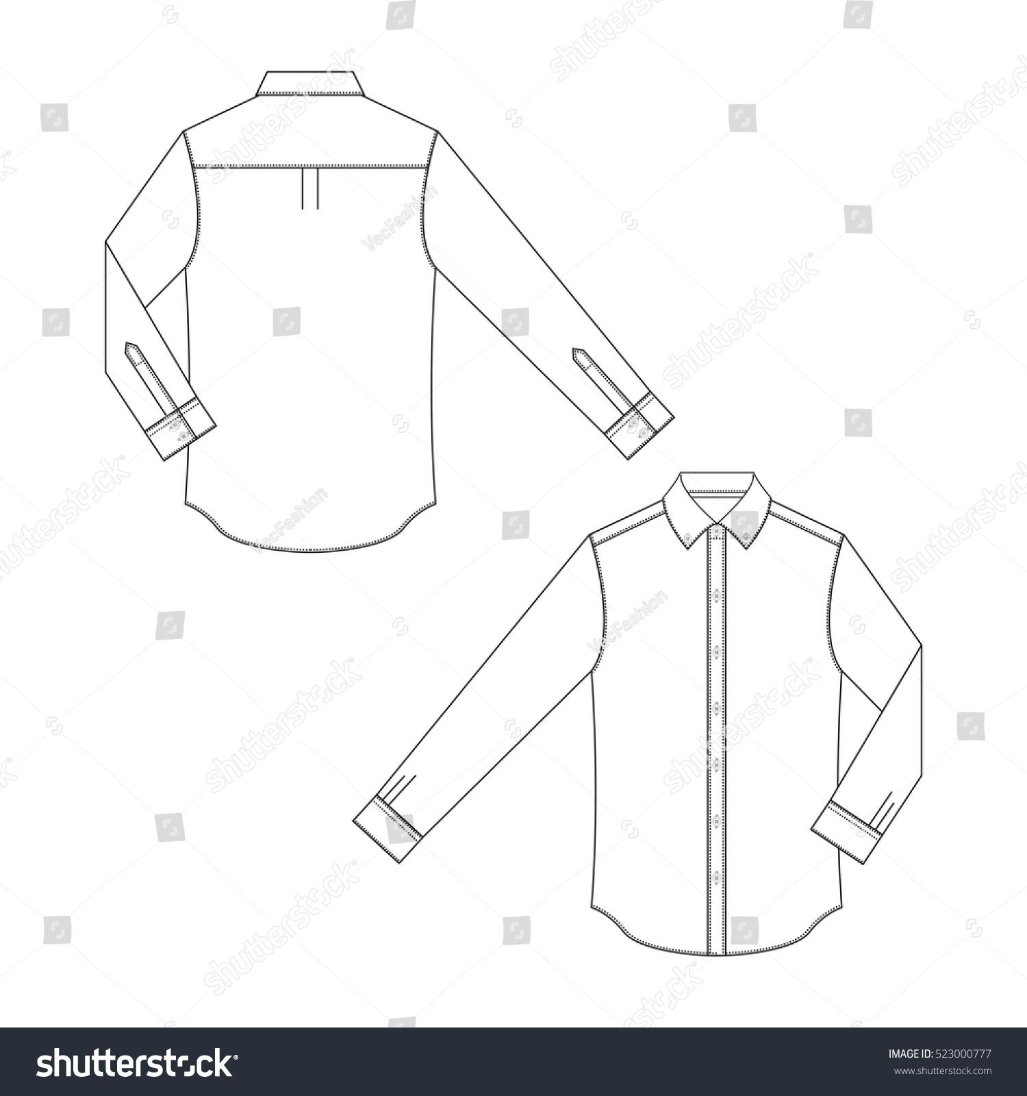 men dress shirt template stock vector royalty free 523000777