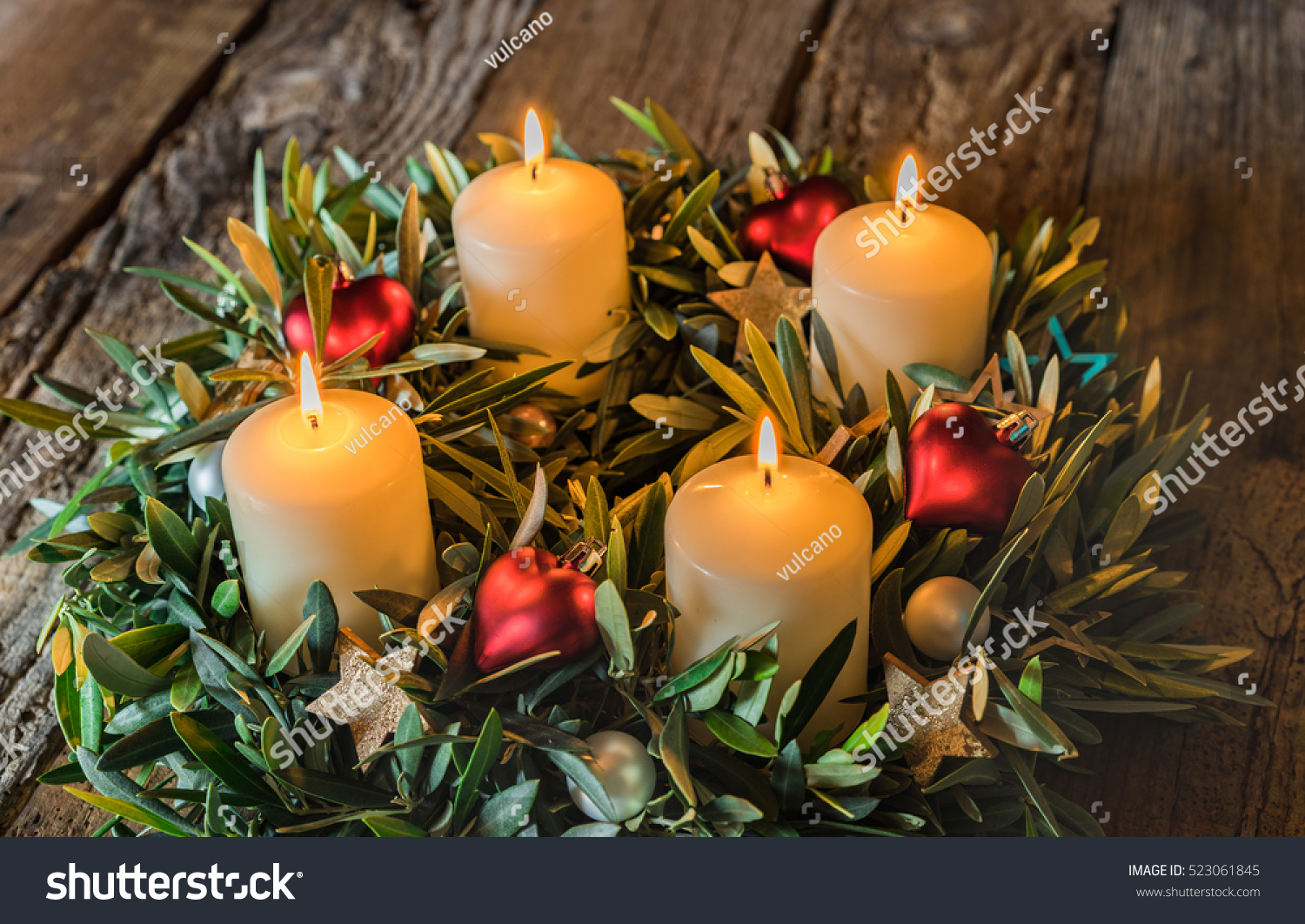 advent wreath with four burning candles stock photo. Black Bedroom Furniture Sets. Home Design Ideas