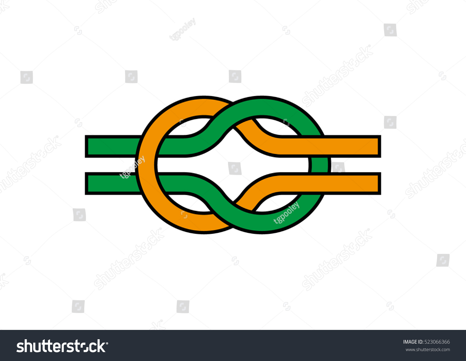 Reef Knot Reef Knot Symbol Square Stock Vector Royalty Free