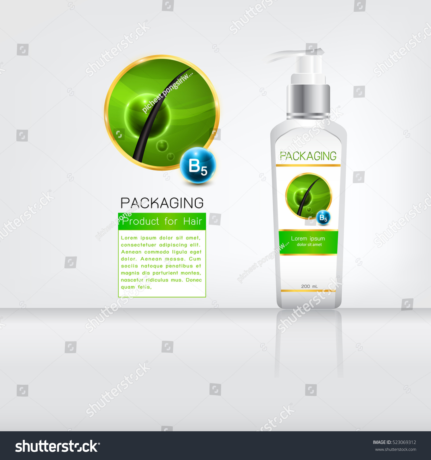 Shampoo Bottle Body Care Product Label Stock Vector 523069312 ...
