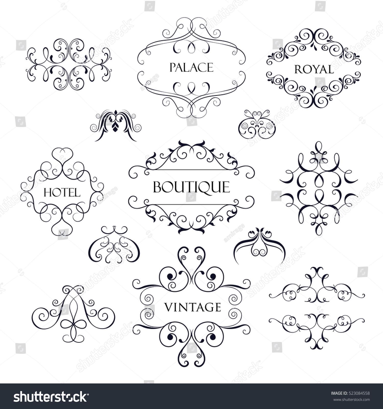 Set Luxury Simple Elegant Monogram Designs Stock Vector 523084558