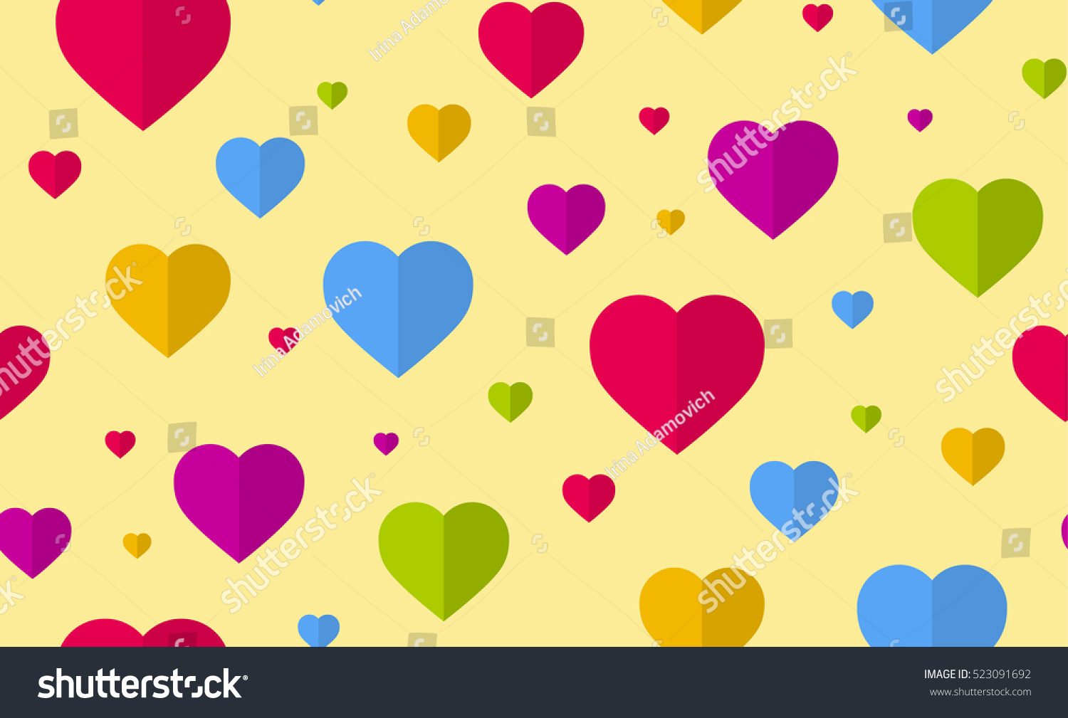Romantic vector seamless background greeting card wallpaper vector art - Heart Seamless Pattern Flat Style Vector Colorful Background Wallpaper Decoration Wrapping