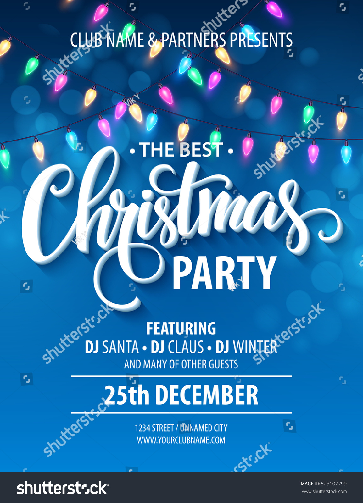 Christmas Party Invitation Poster Hand Lettering Stock Vector ...