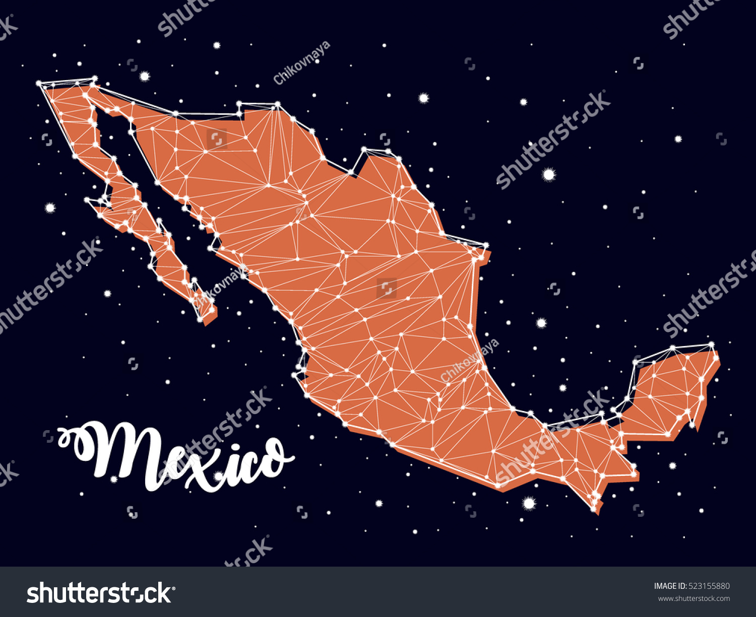 constellation map mexico stock vector 523155880 shutterstock