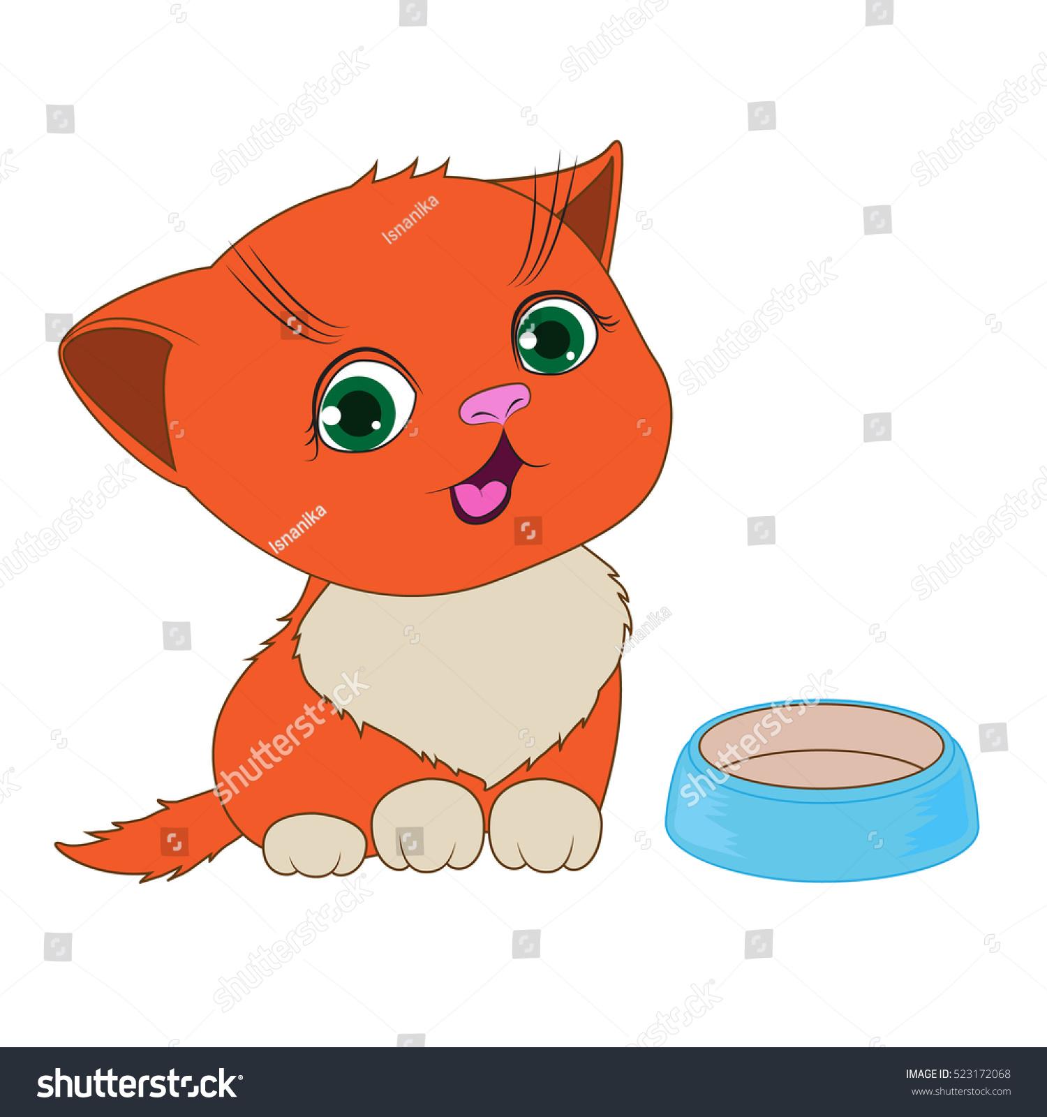 Hungry Red Kitten Empty Bowl Stock Vector 523172068 - Shutterstock