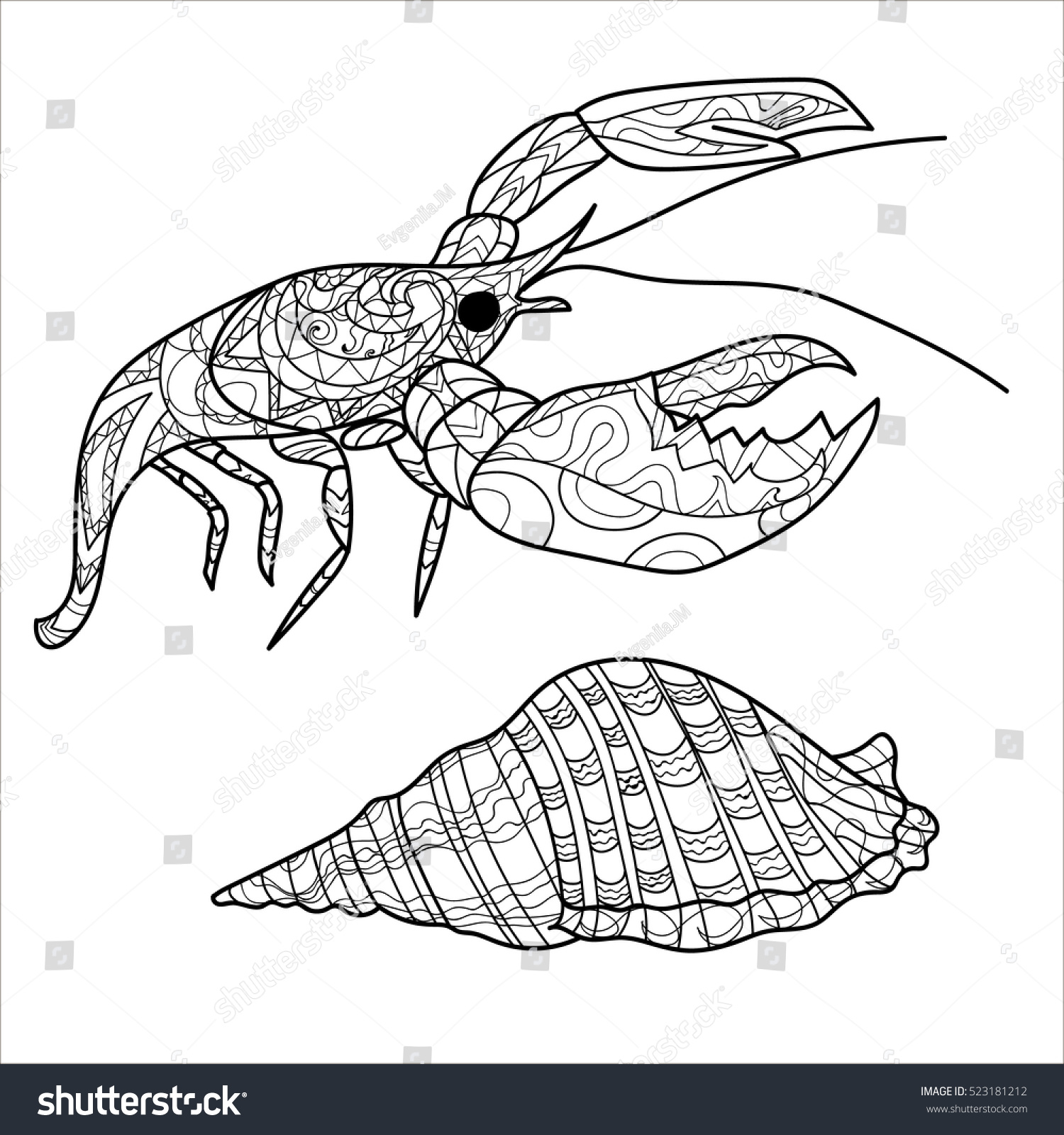 crayfish coloring page - crayfish lobster pattern coloring stock vector 523181212