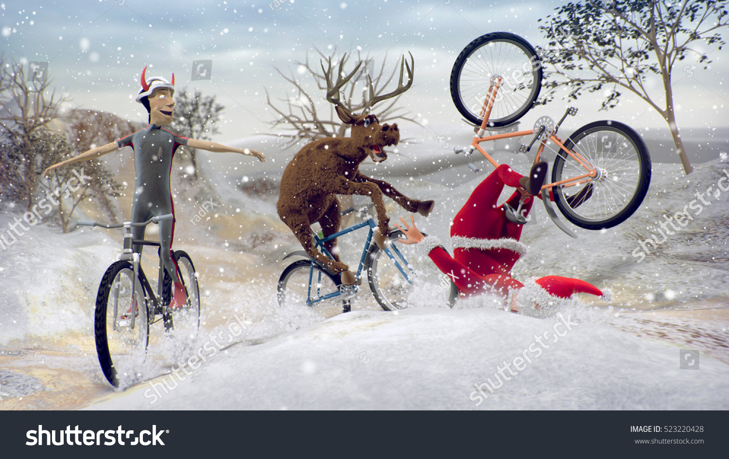 funny lame santa claus on bicycleのイラスト素材 523220428 shutterstock