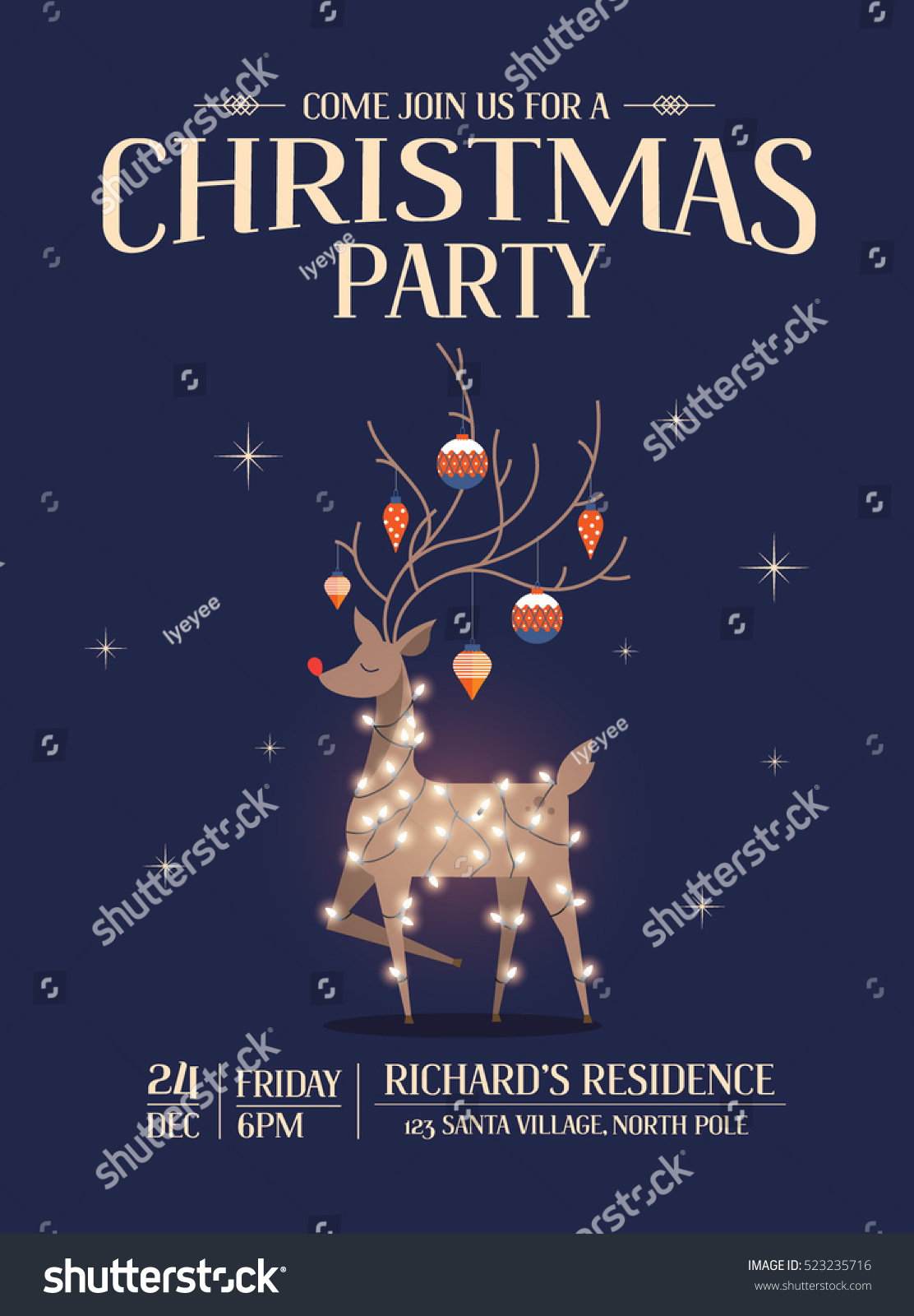 Reindeer Christmas Party Invitation Card Template Stock Vector ...