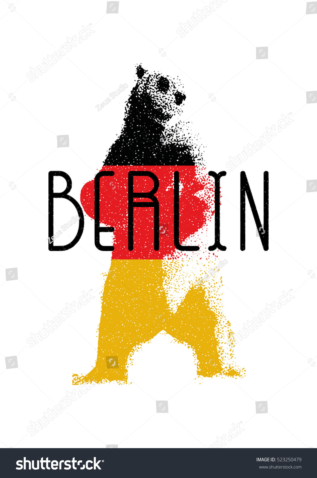 Capital Germany Berlin Symbol Berlin Bear Stock Vector Royalty Free