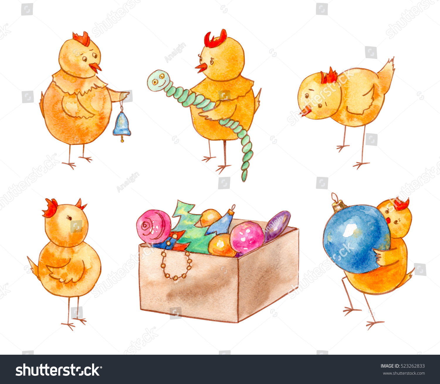 Set Funny Orange Chickens Christmas Decorations Stock Illustration ...