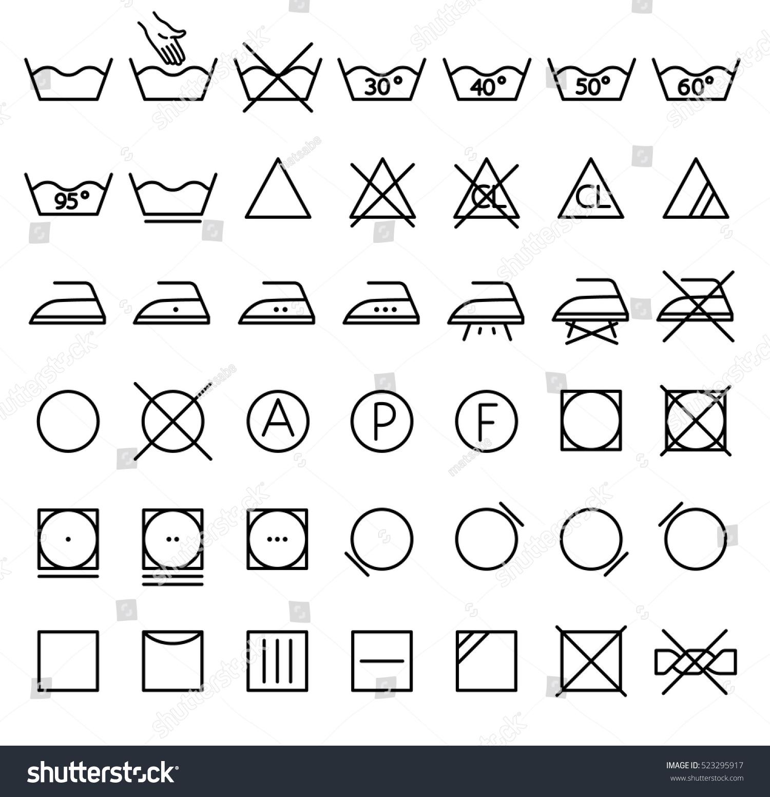 Garment care symbols set symbols on stock vector 523295917 garment care symbols set the symbols on the labels of clothes washing wringing biocorpaavc Images