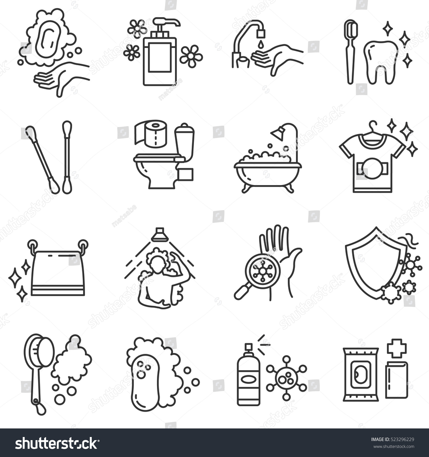 Hygiene Icons Set Compliance Health Purity Stock Vector Royalty