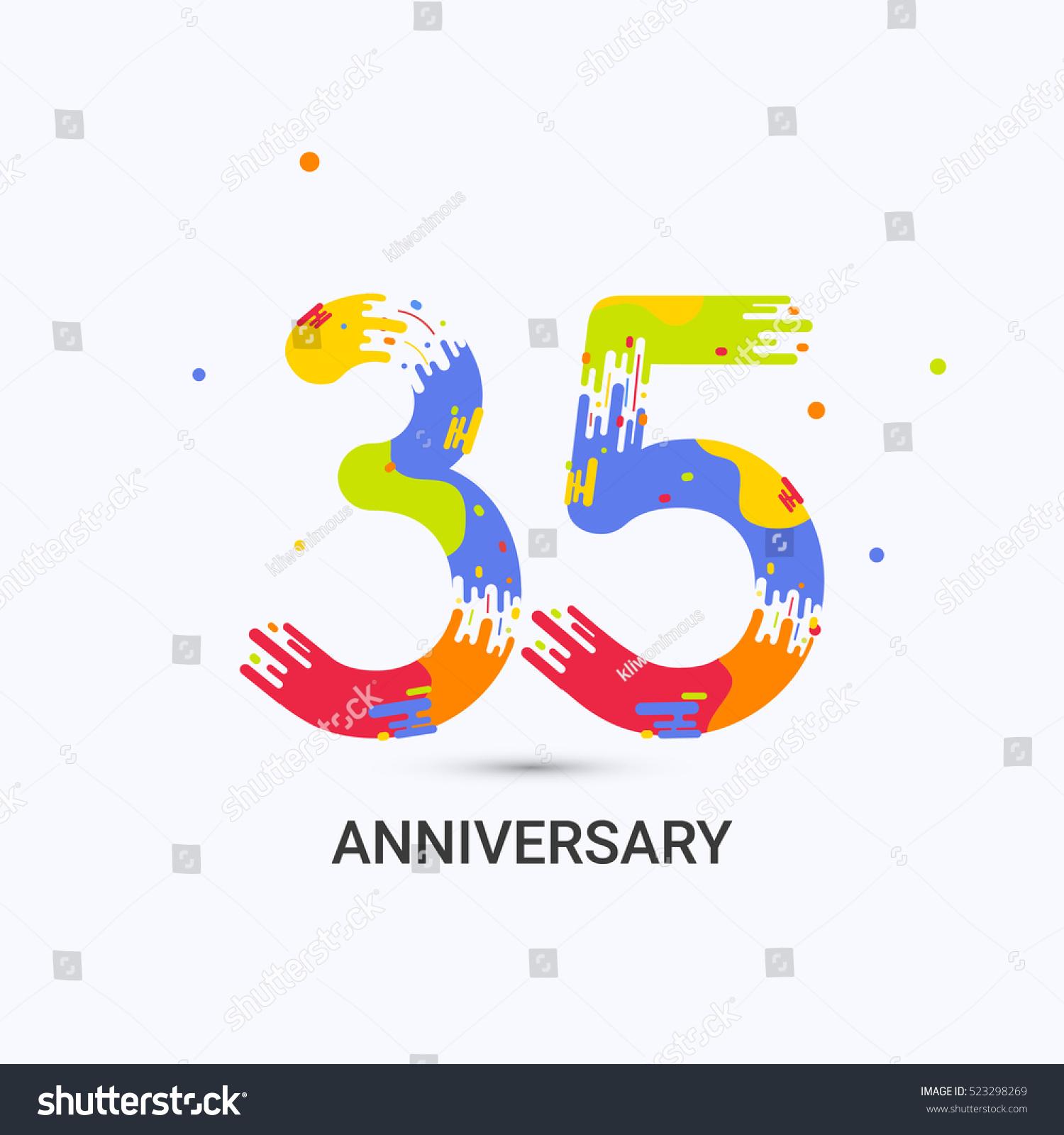 35 Years Anniversary Splash Colored Logo Stock Vector Royalty Free