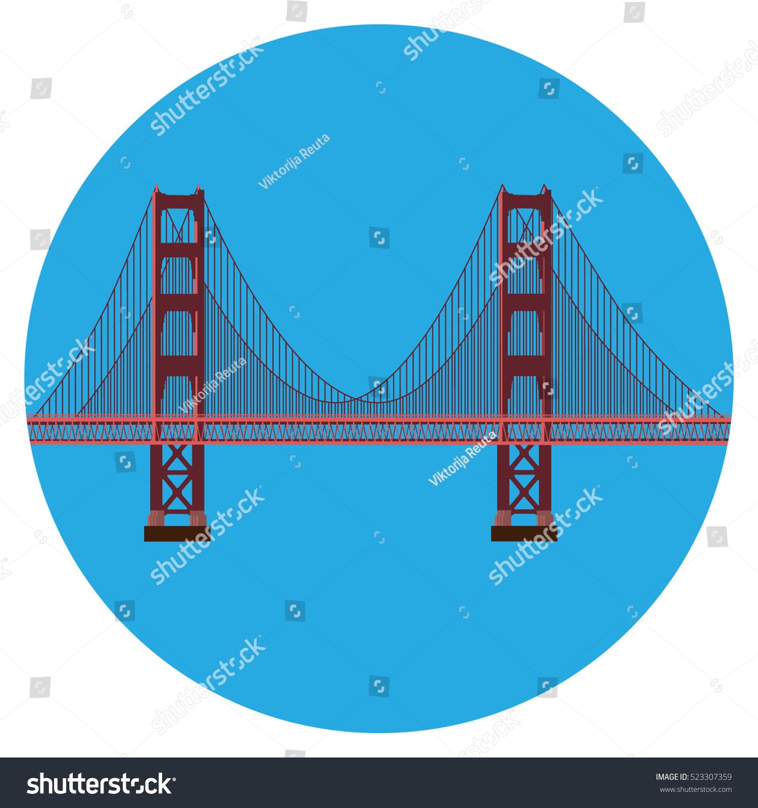 Vector Illustration San Francisco Golden Gate Stock Royalty Bridge Diagram Of The Symbol Isolated On White Background Us Landmark