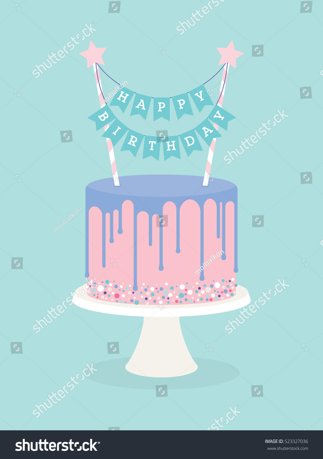 Birthday Cake With Frosting And Decoration Happy Topper