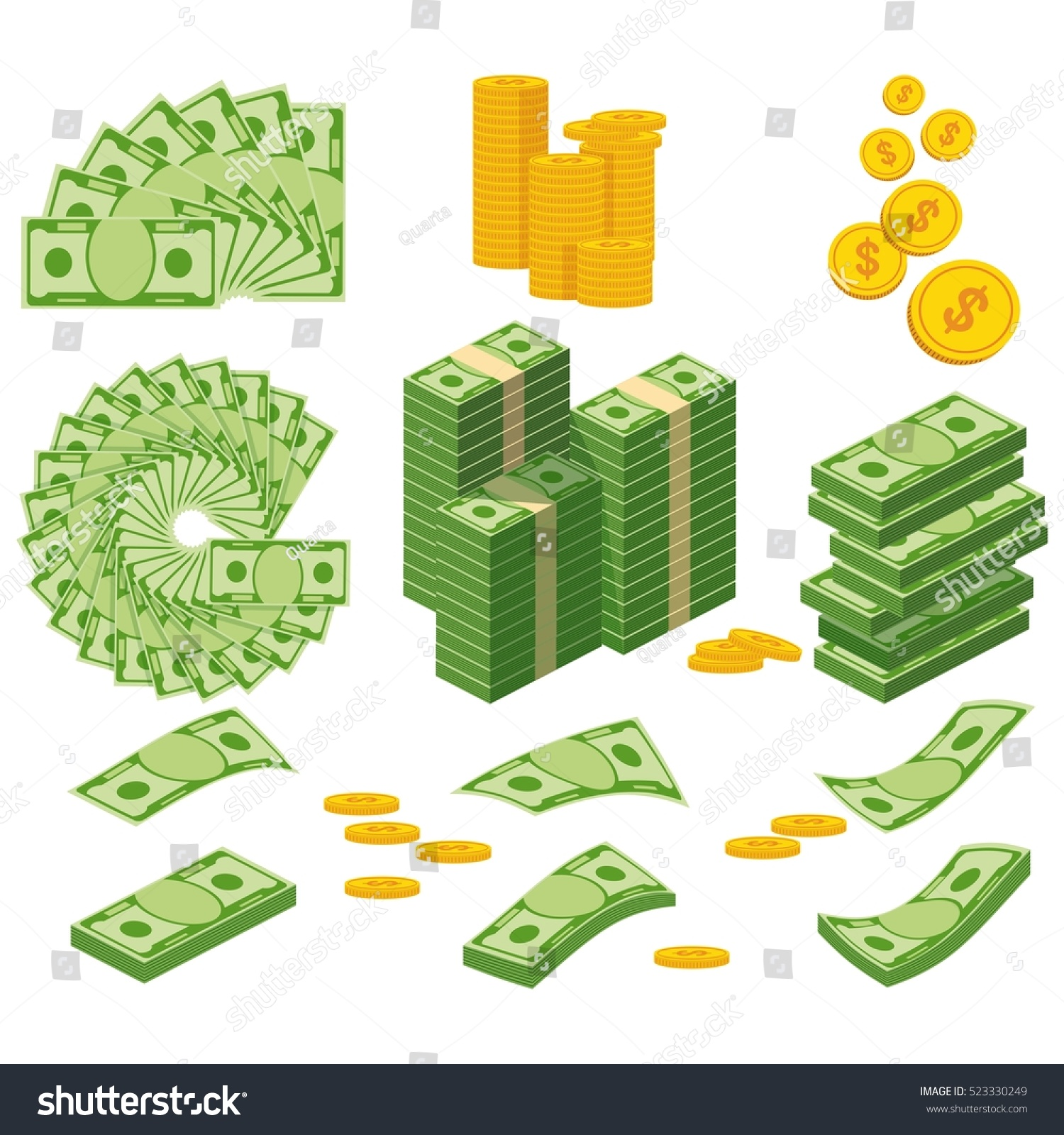 Set a various kind of money. Packing in bundles of bank notes, bills fly, gold coins. Flat vector cartoon money illustration. Objects isolated on a white background. #523330249