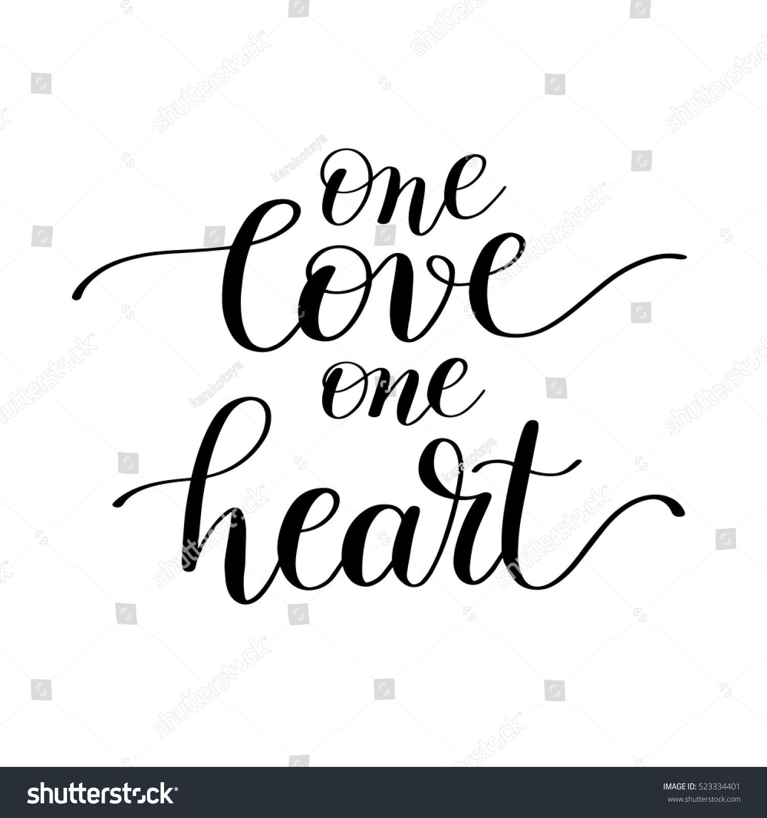 One Love One Heart Handwritten Lettering Stock Vector