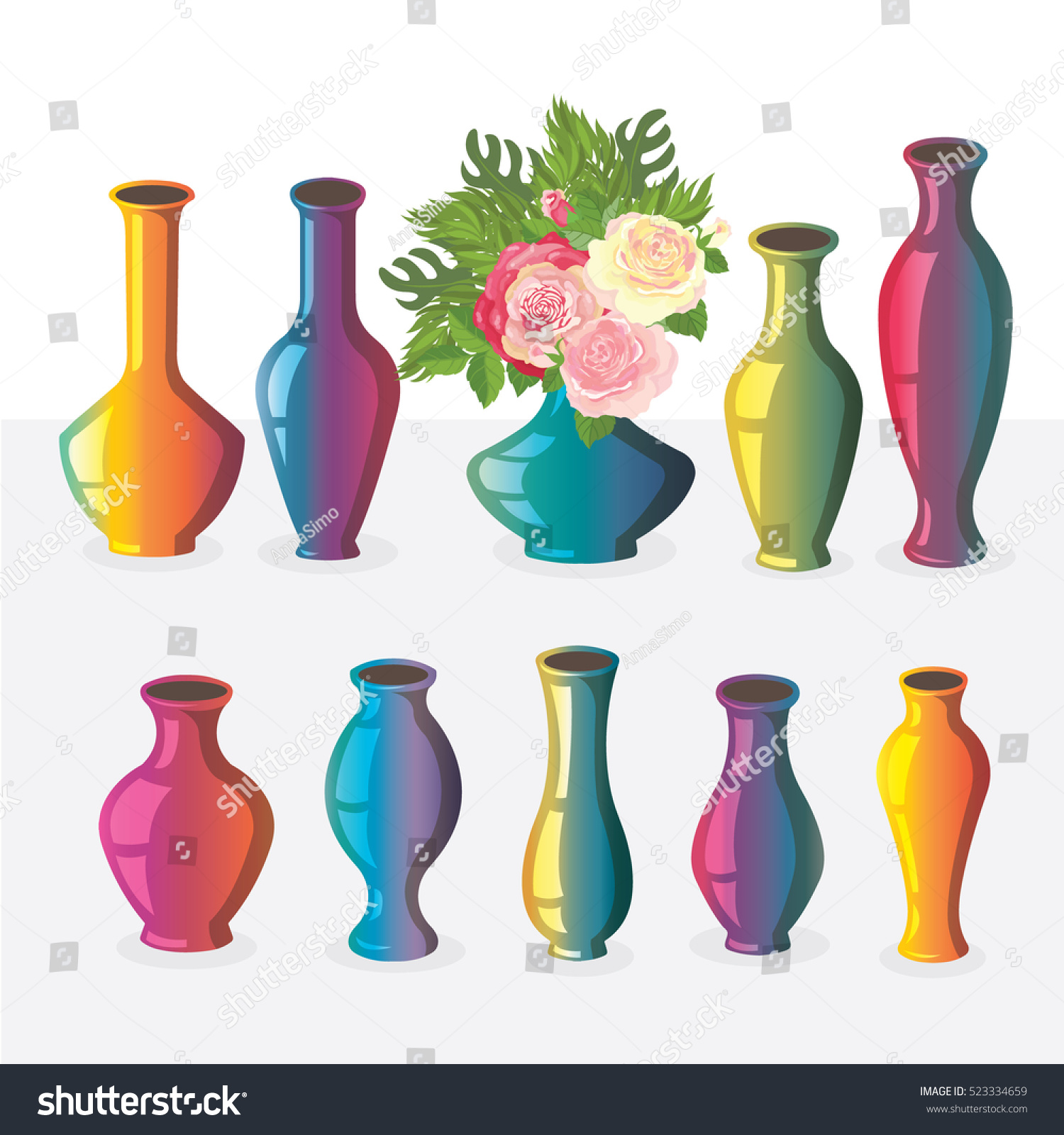 Collection vases icons different gradient colors stock vector collection of vases icons with different gradient colors and shapes reviewsmspy