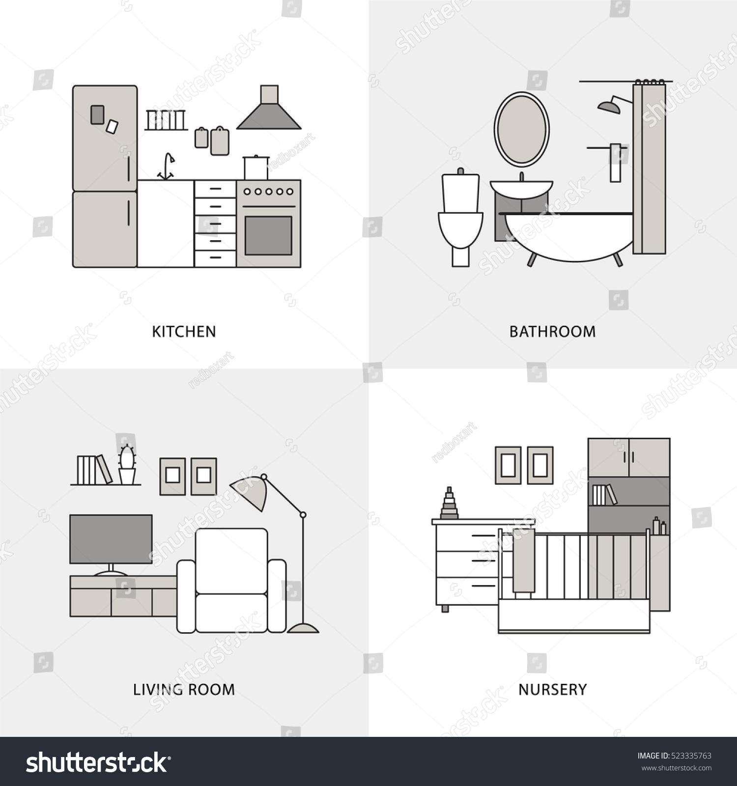 Flat Line Home Interior Design Icons. Kitchen, Bathroom, Living Room And  Nursery Vector