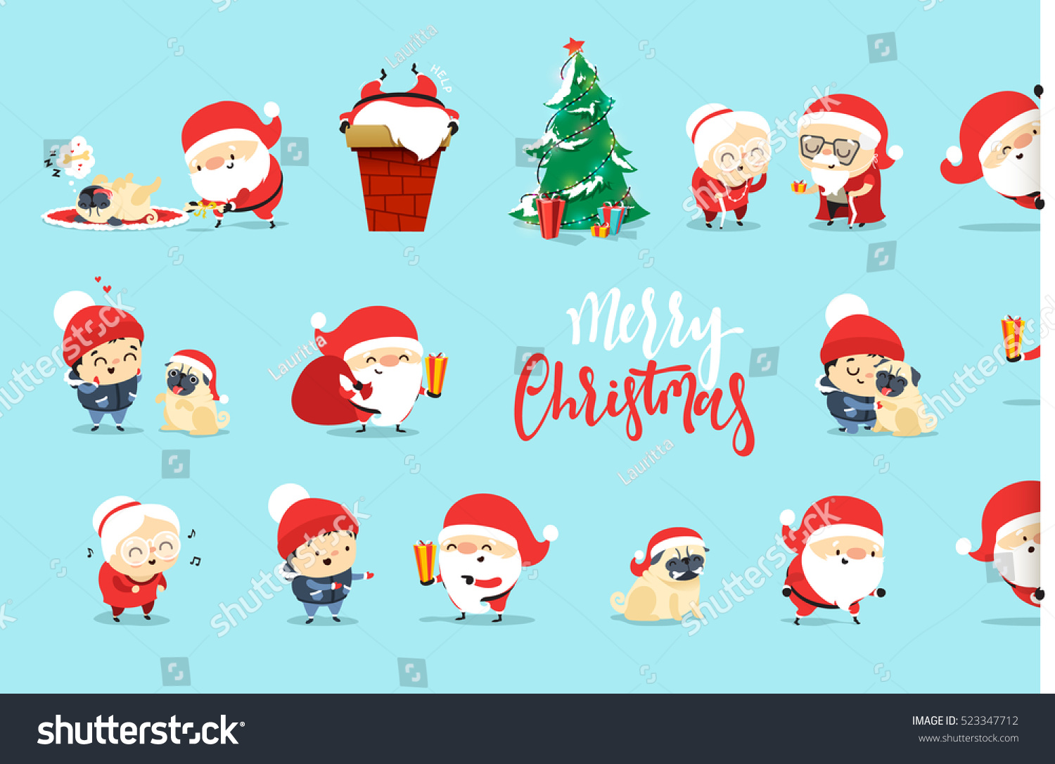 Santa Claus Funny Christmas Characters Flat Stock Vector (Royalty ...