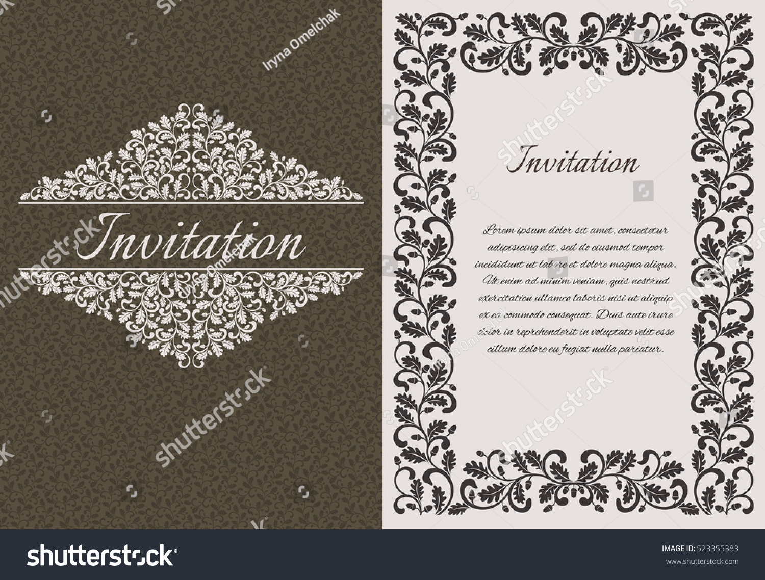 Vintage Wedding Invitation Template Design Decorated Stock Vector ...