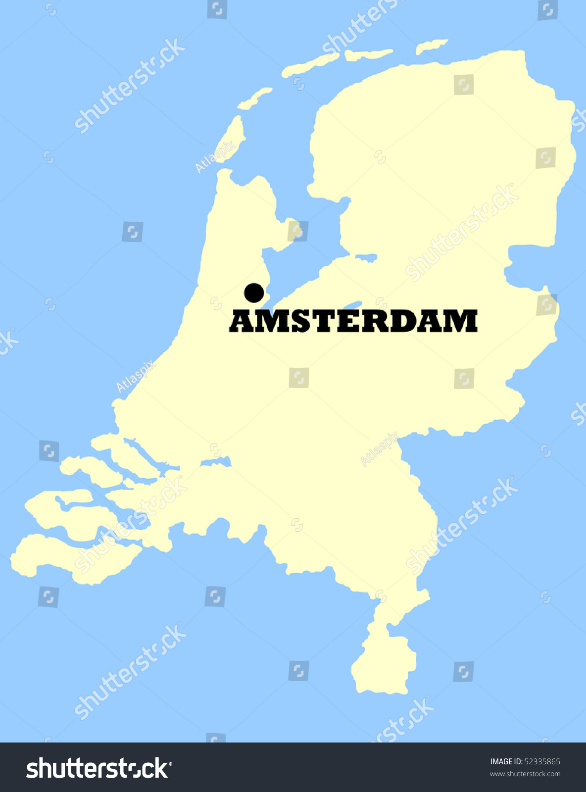 Map Netherlands Amsterdam Marked Isolated On Stock Illustration ...