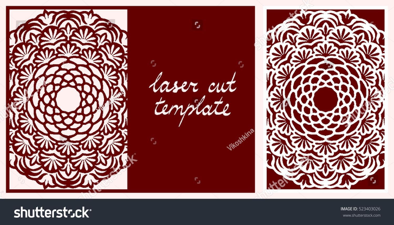 Laser Cut Greeting Card Floral Mandala Stock Vector (Royalty Free ...