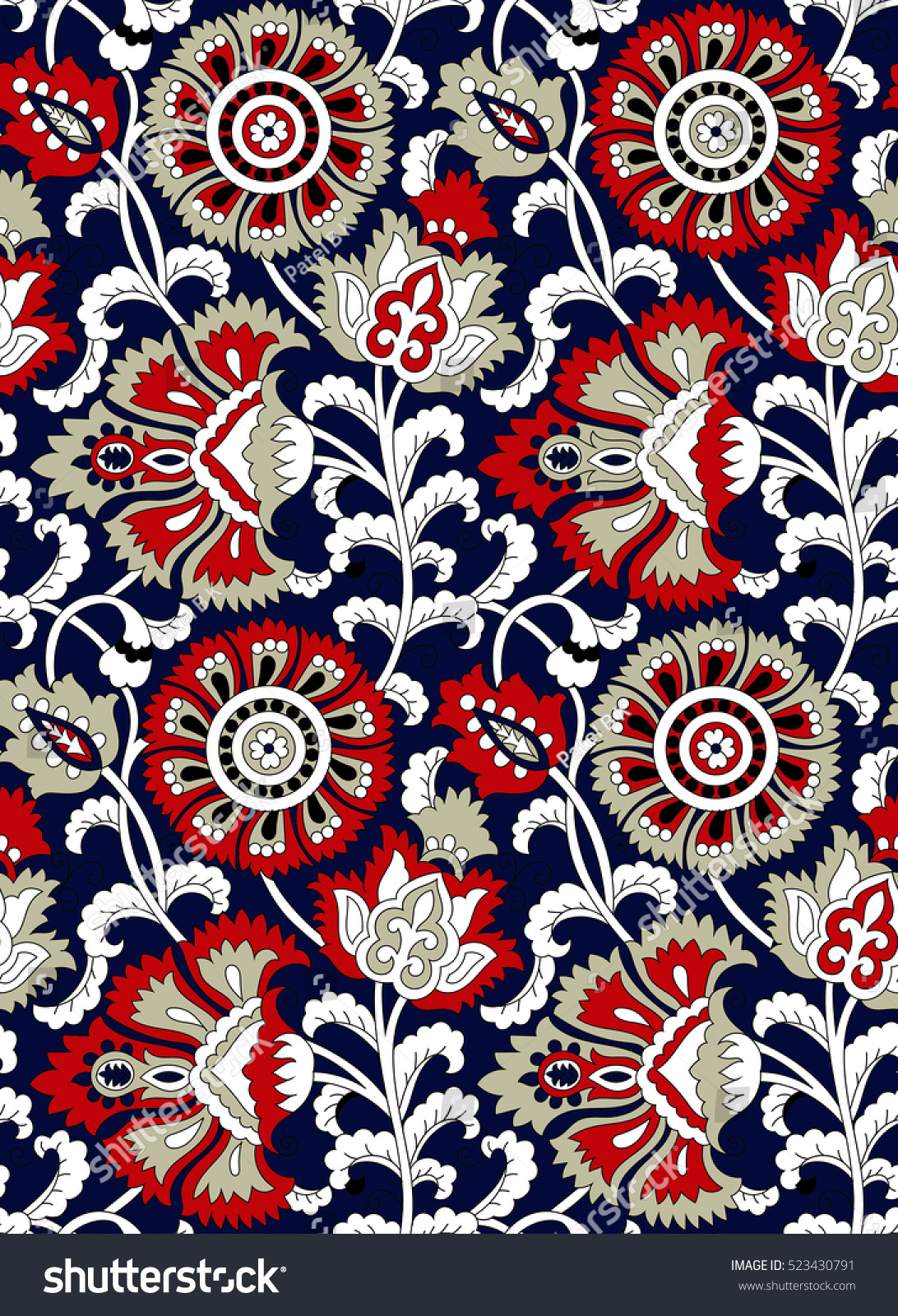traditional indian floral pattern stock vector royalty free