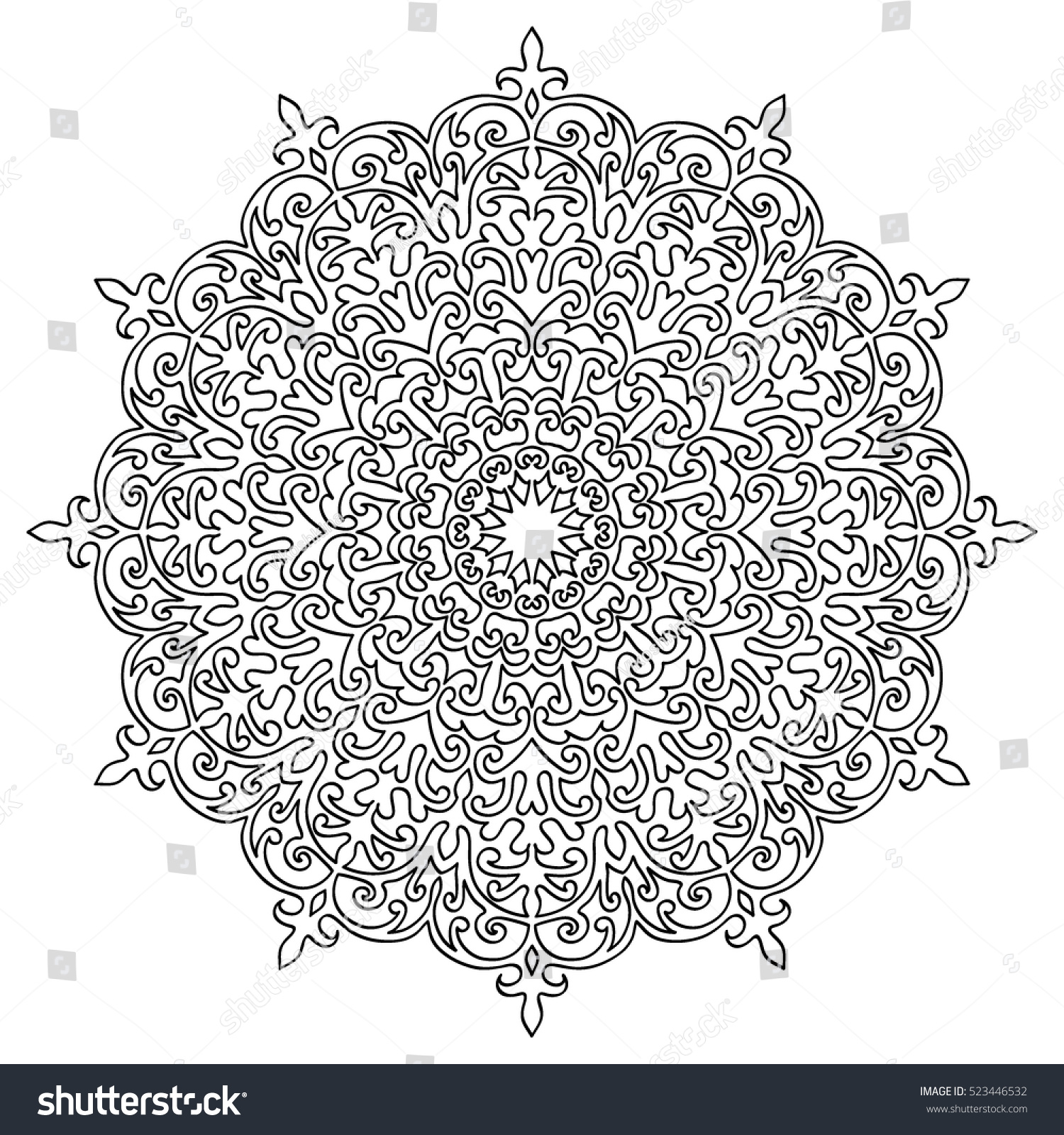 Adult Coloring Book Page Black And White Flourish Round Pattern Floral Mandala Ornament