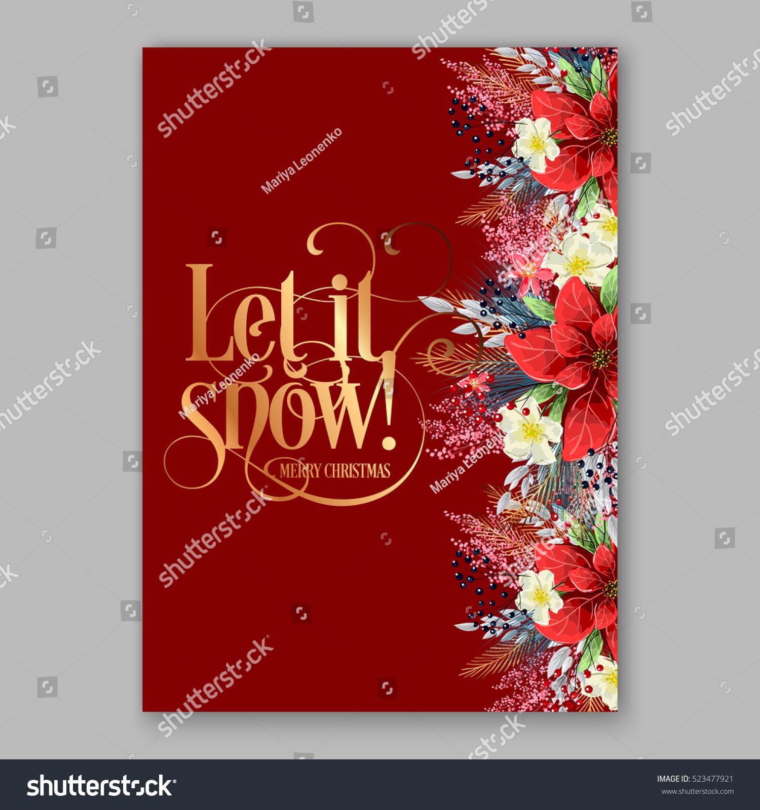 Poinsettia Christmas Party Invitation Sample Card Stock Photo (Photo ...