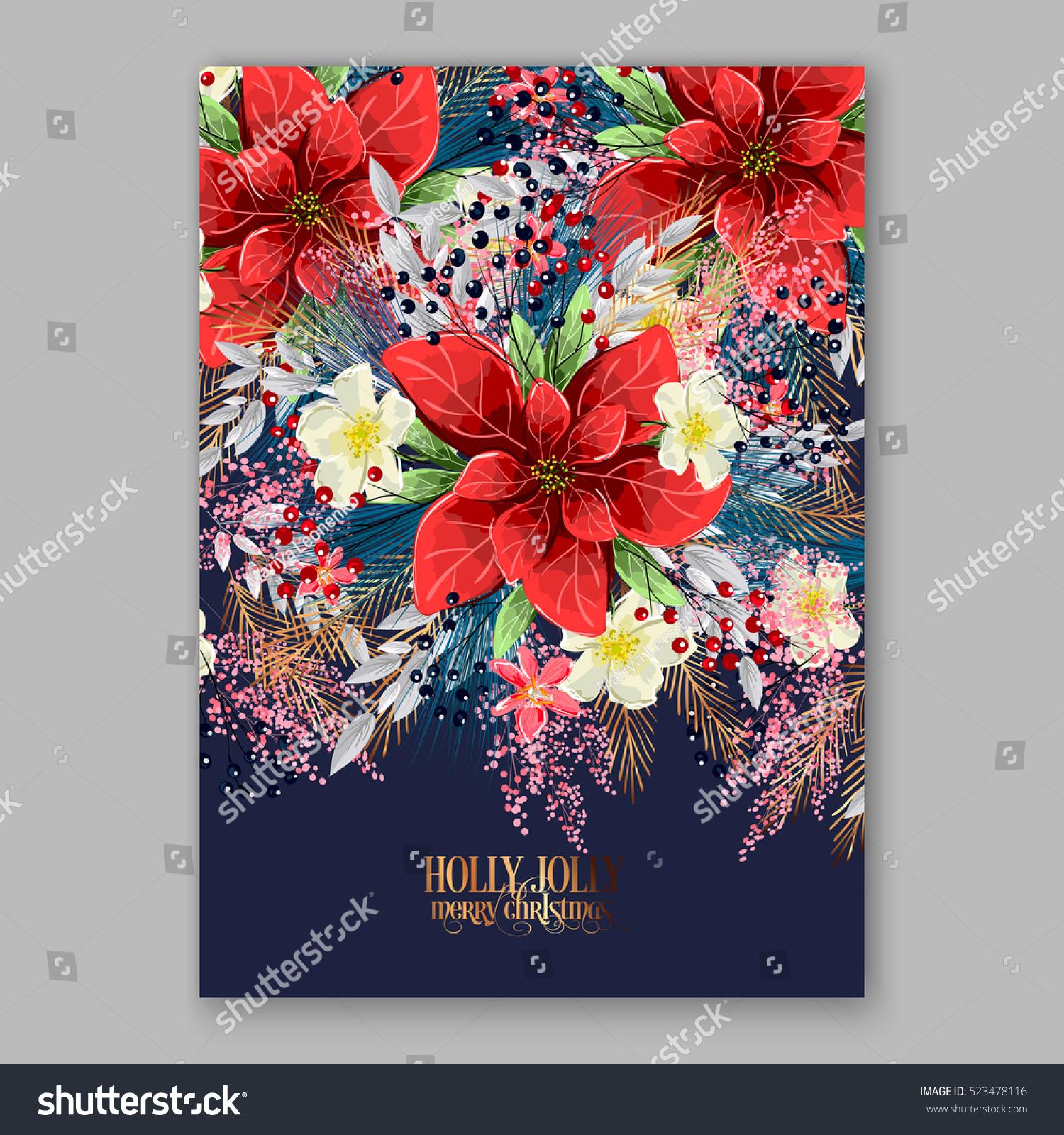 Poinsettia Christmas Party Invitation Sample Card Stock Vector HD ...