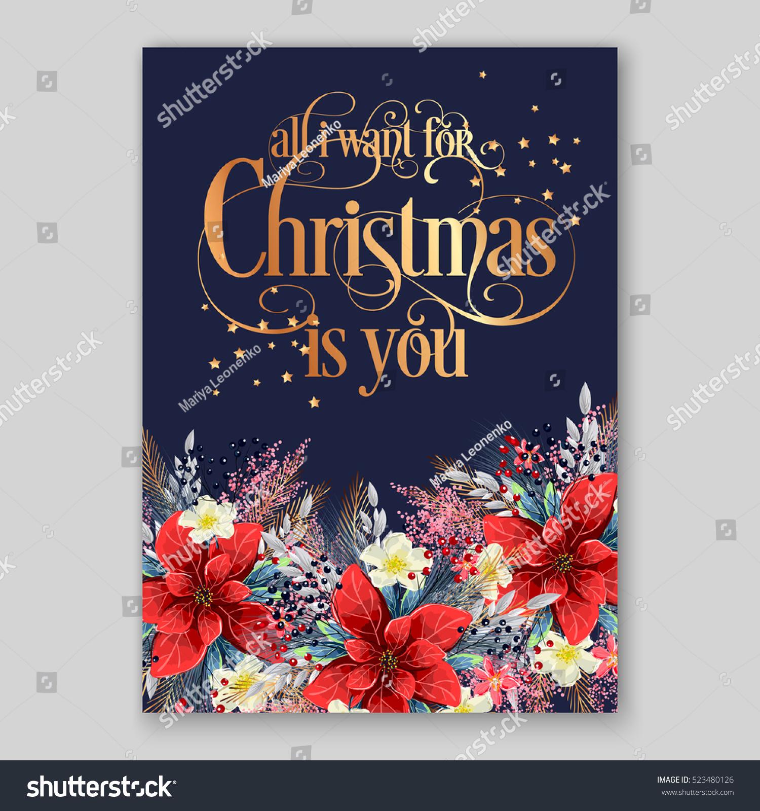 Poinsettia Christmas Party Invitation Sample Card Stock Vector ...
