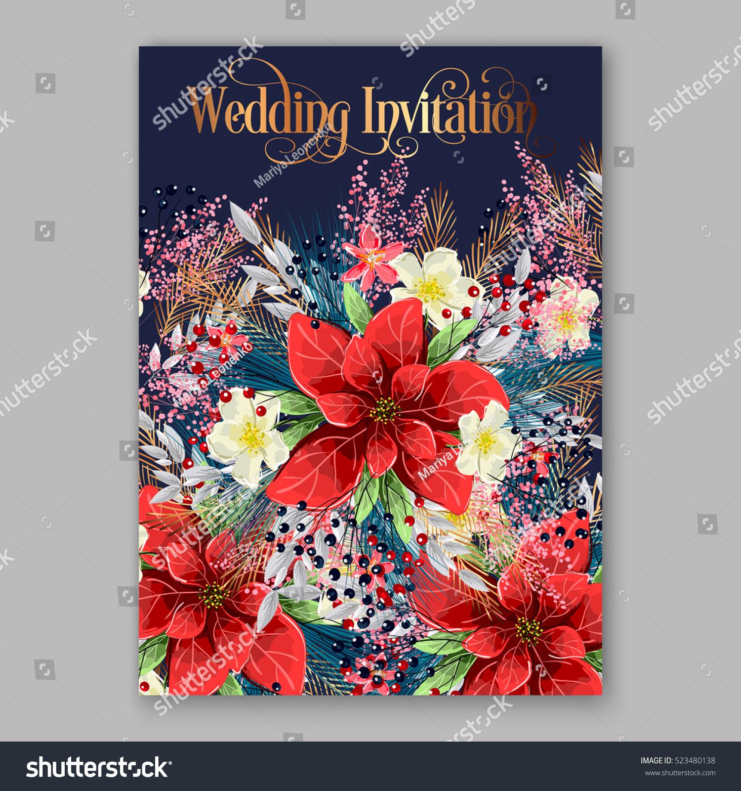 Red Poinsettia Wedding Invitation Sample Card Stock Vector 523480138 ...