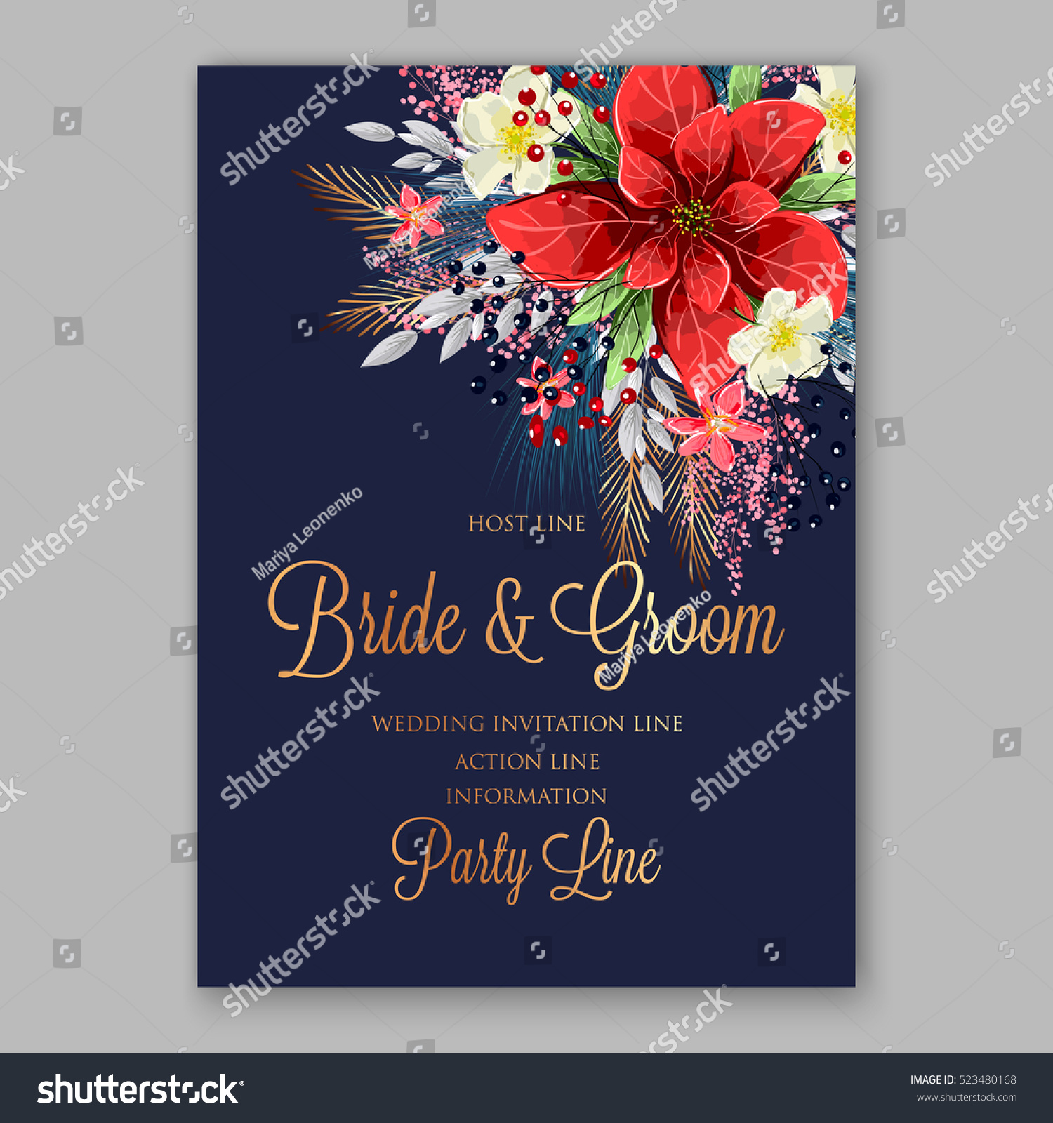 Red poinsettia wedding invitation sample card stock vector 2018 red poinsettia wedding invitation sample card beautiful winter floral ornament with gold wording stopboris Image collections