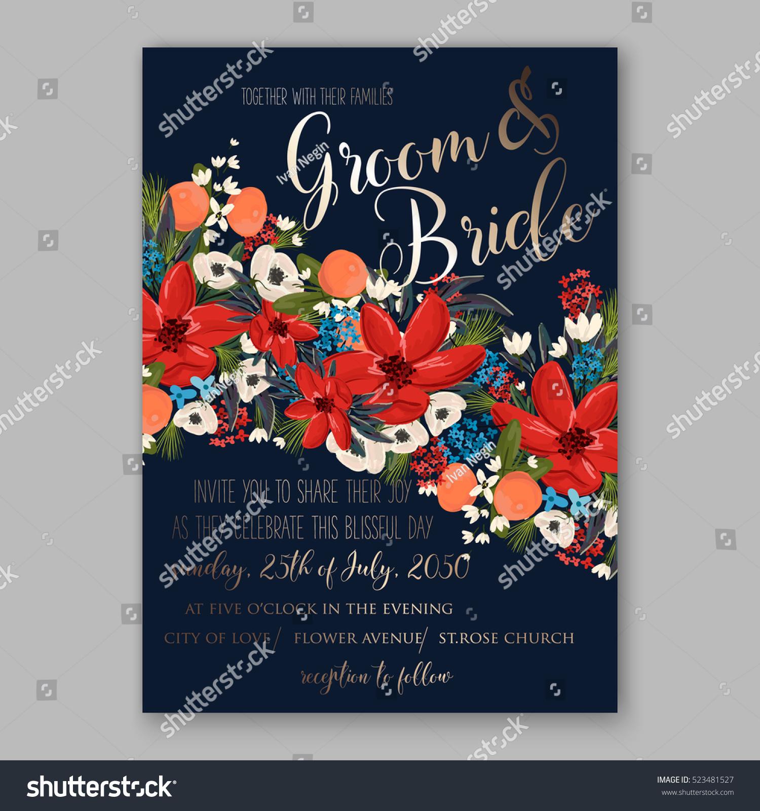 Poinsettia Winter Wedding Invitation Template Card Stock Vector ...