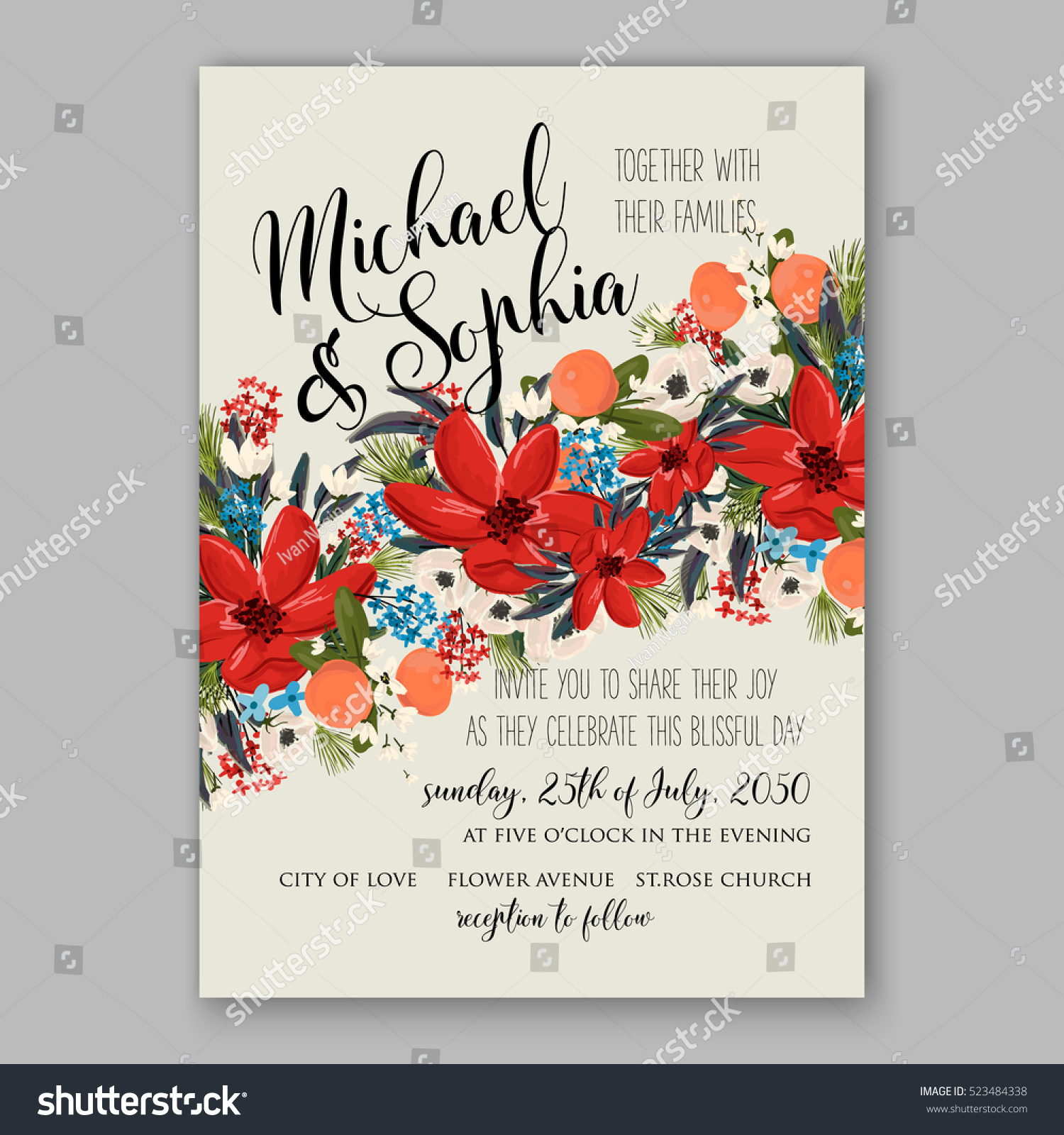 Poinsettia Winter Wedding Invitation Template Card Stock Vector ...