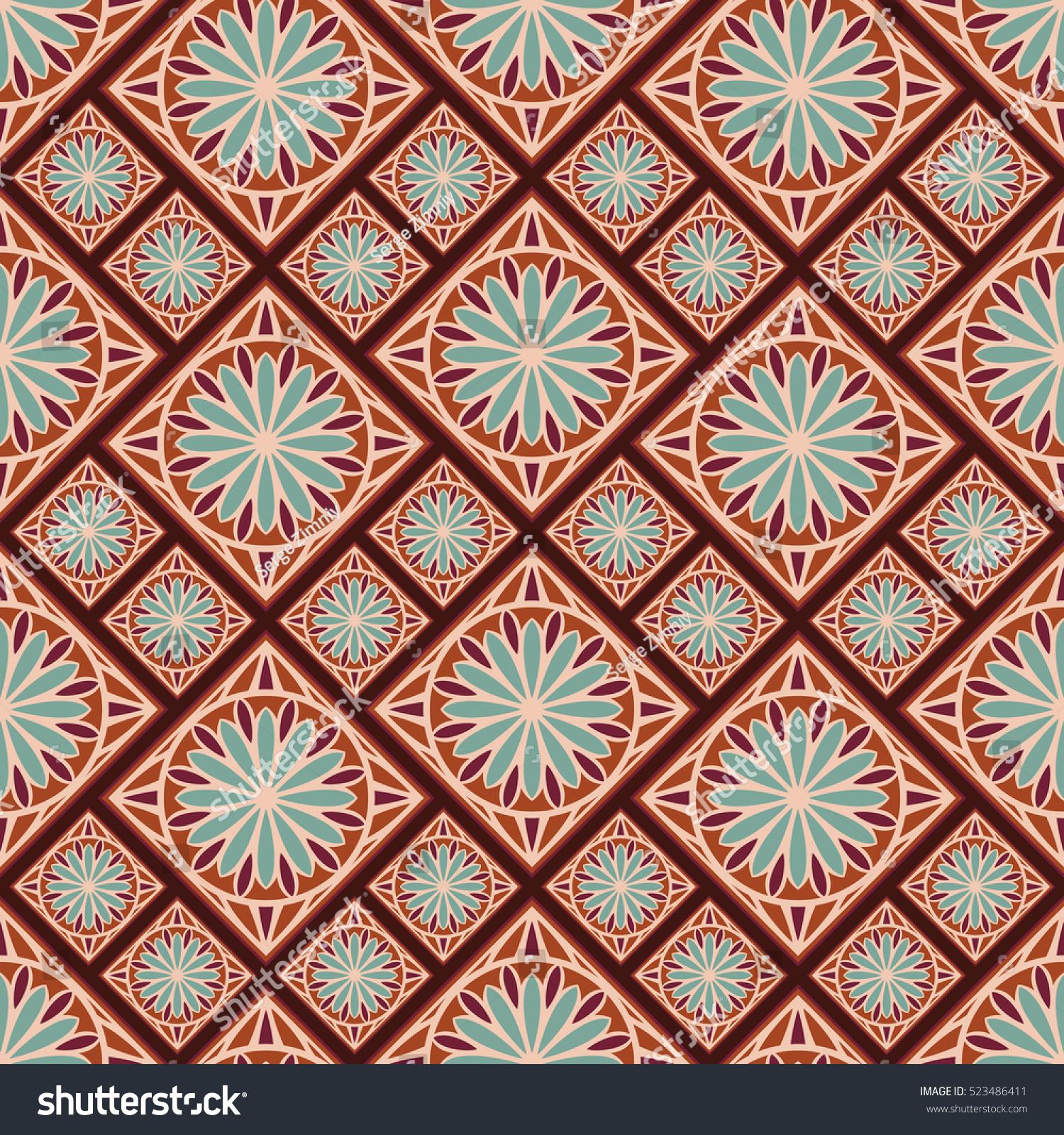 Seamless Pattern In Spanish Style Spain Tilework Portugal Ceramic