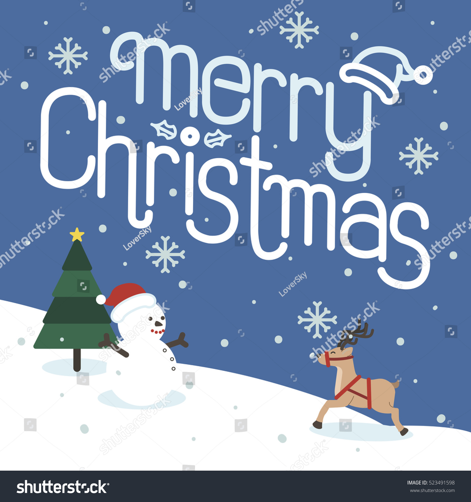 Merry Christmas Happy New Year Christmas Stock Illustration
