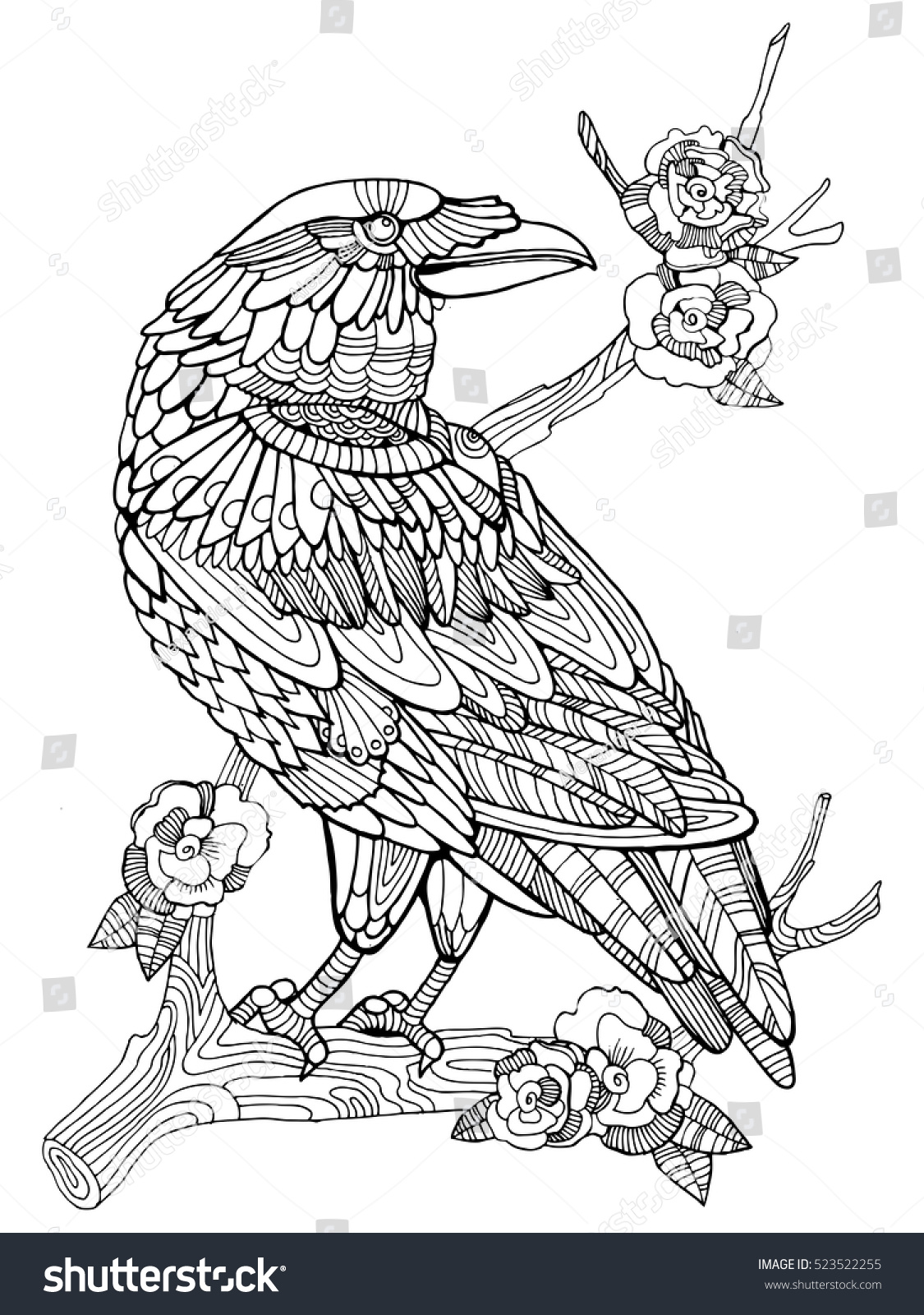 crow bird coloring book adults raster stock illustration 523522255