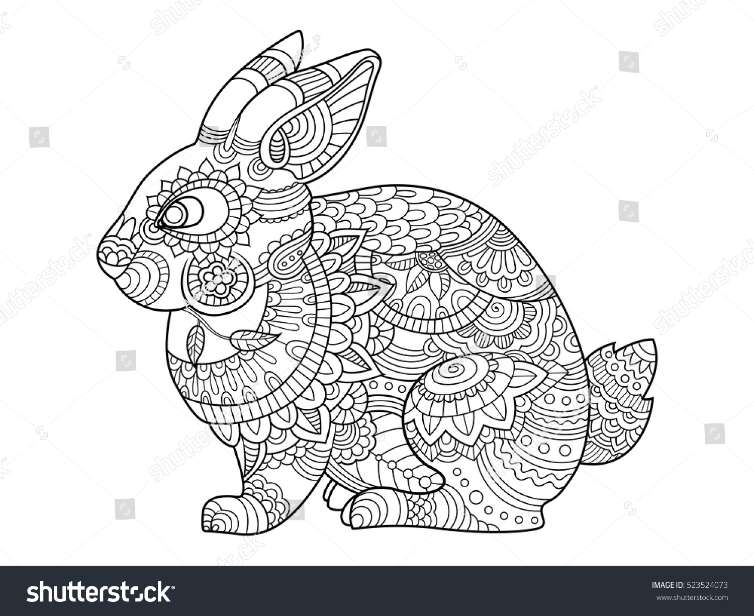 rabbit bunny coloring book for adults vector illustration anti stress coloring for adult
