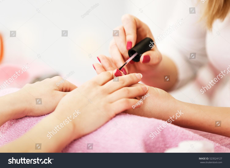 nail care salon selective focus on stock photo 523524127