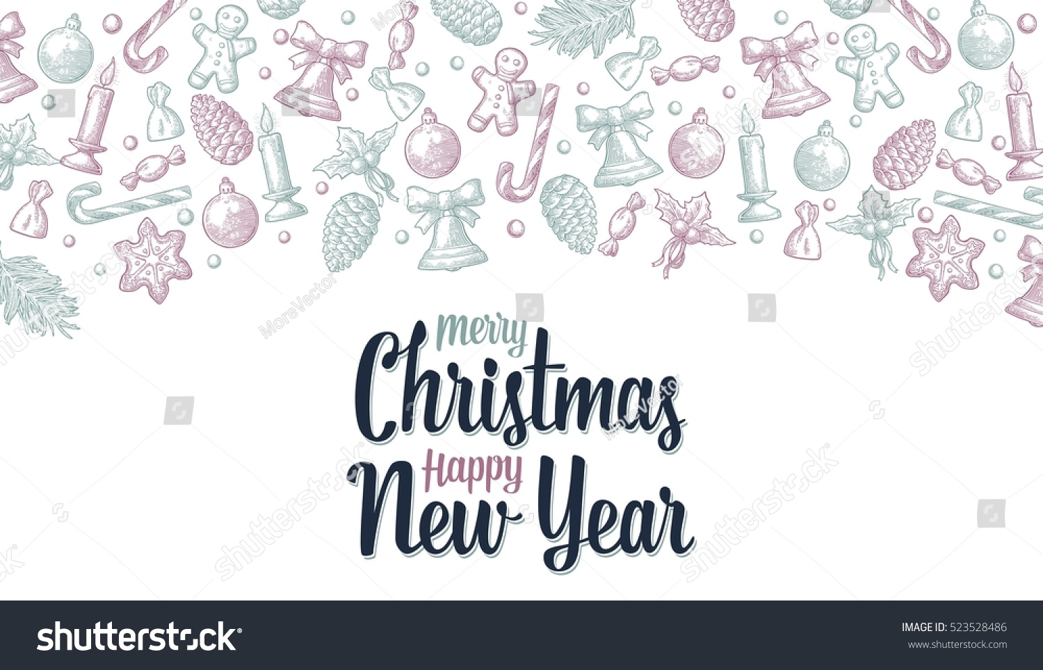 template greeting card poster merry christmas stock vector