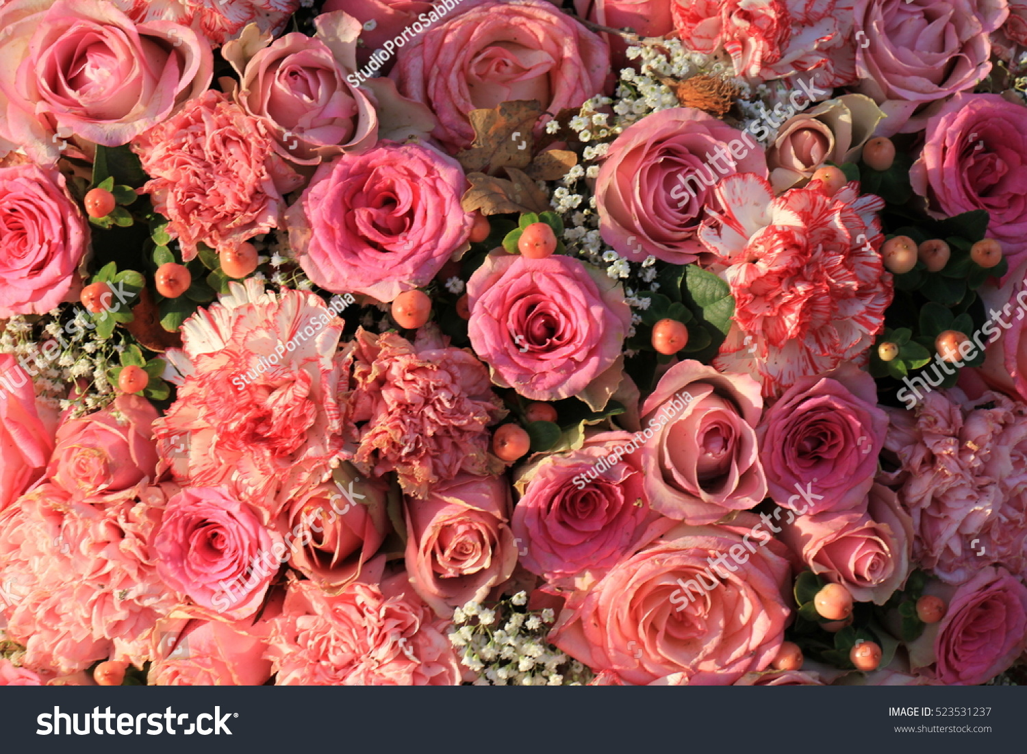 Mixed Flowers All Pink Wedding Arrangement Stock Photo Royalty Free