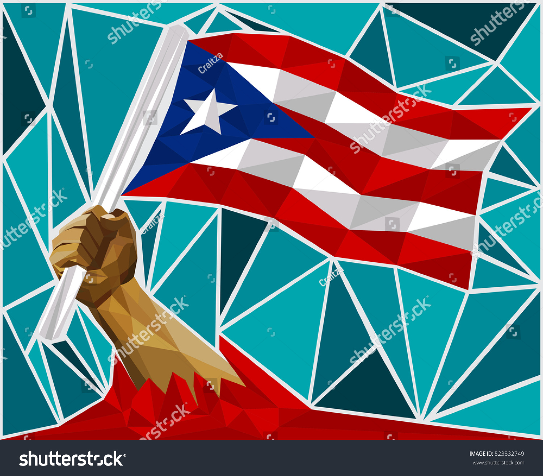 Powerful hand raising flag puerto rico stock vector 523532749 powerful hand raising the flag of puerto rico biocorpaavc Images