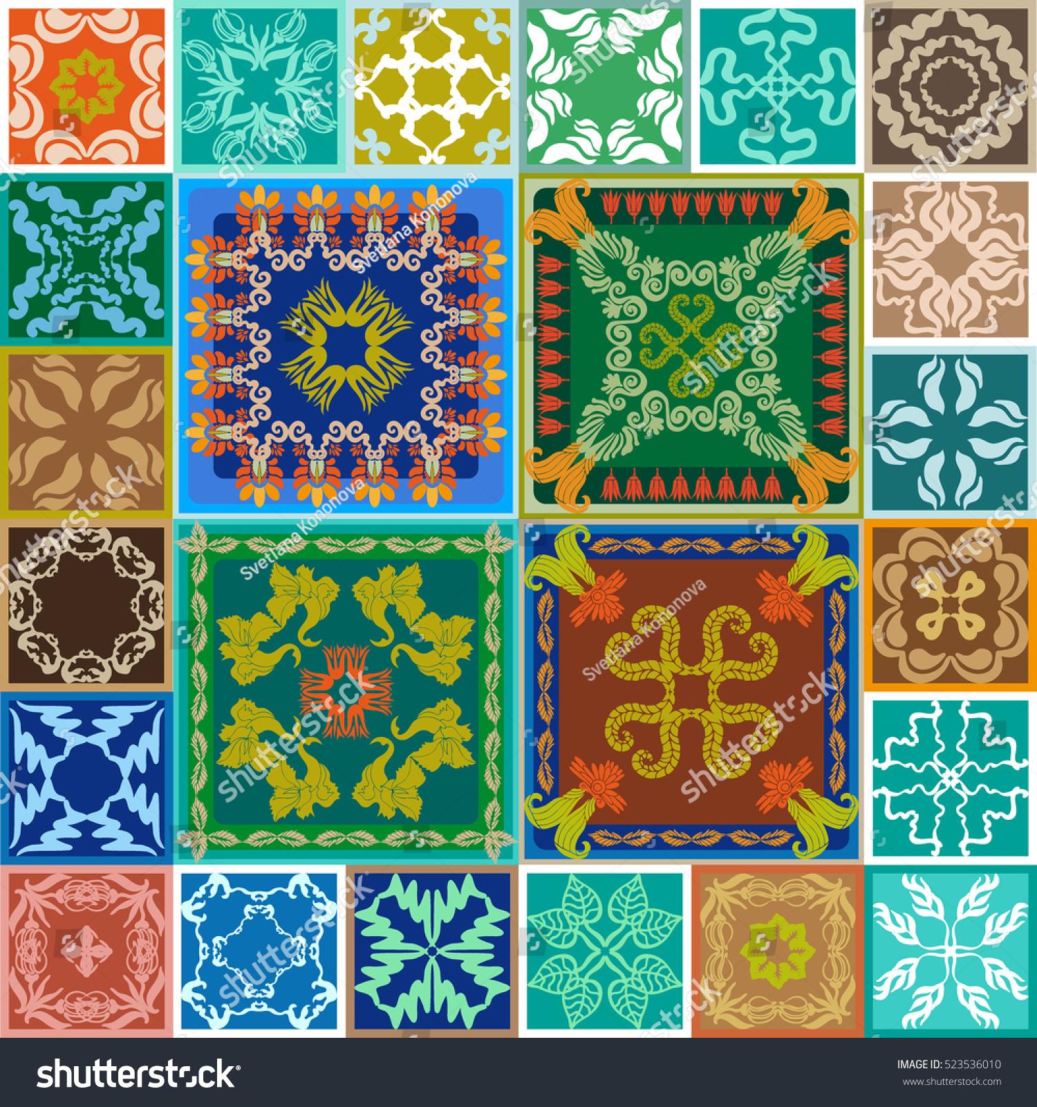 Gorgeous Ceramic Set Colorful Vintage Tiles Stock Illustration